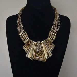 VTG Brass Animal Print Rhinestone Necklace